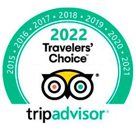 Certificado de Excelência por cinco anos consecutivos recebido pelo Trip Advisor